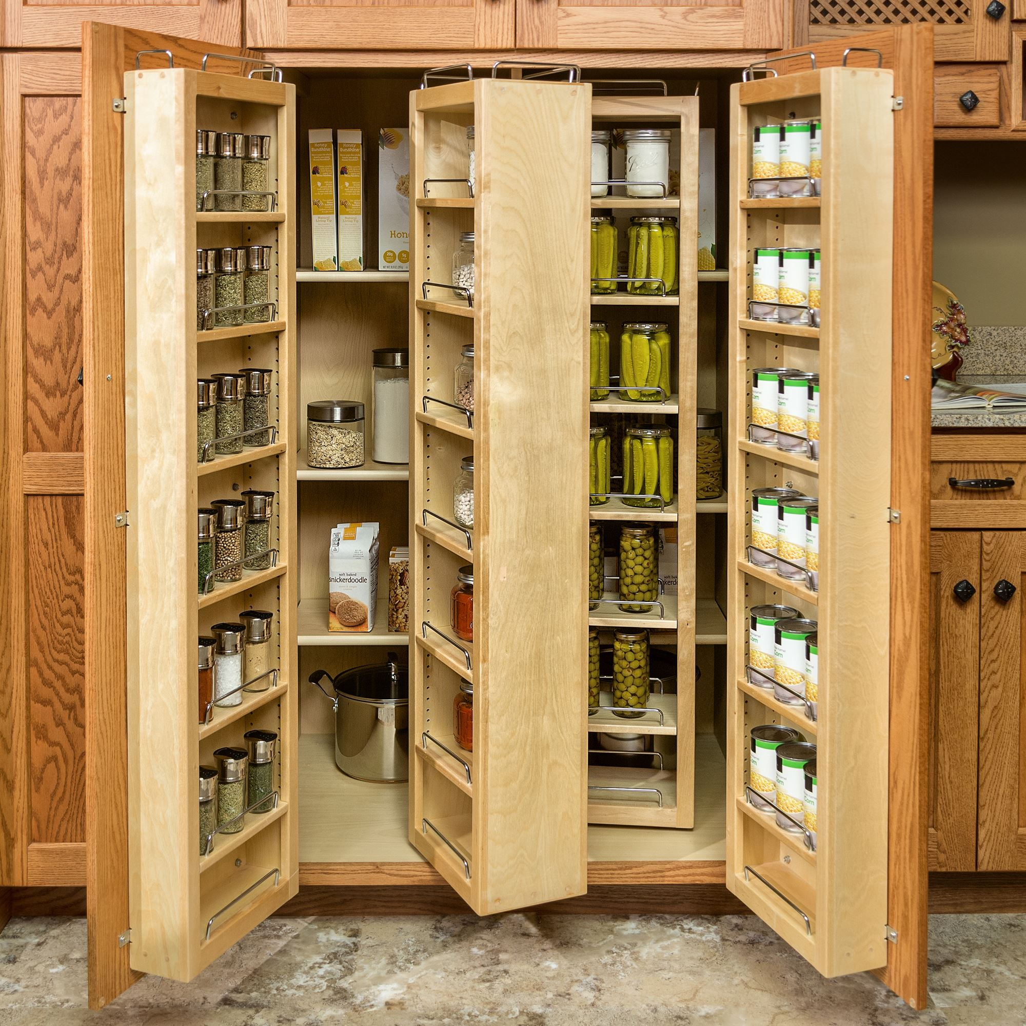 Inspiring kitchen pantry with brown wood accent and double for Pantry door shelving unit